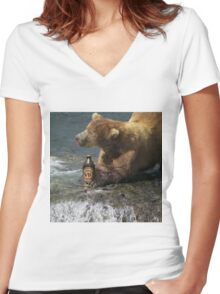 Bear catching beer in a river Women's Fitted V-Neck T-Shirt