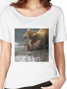 Bear catching beer in a river Women's Relaxed Fit T-Shirt