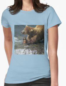 Bear catching beer in a river Womens Fitted T-Shirt