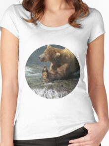 Bear catching beer in a river (Round) Women's Fitted Scoop T-Shirt