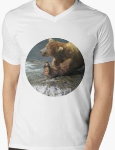 Bear catching beer in a river (Round) Mens V-Neck T-Shirt