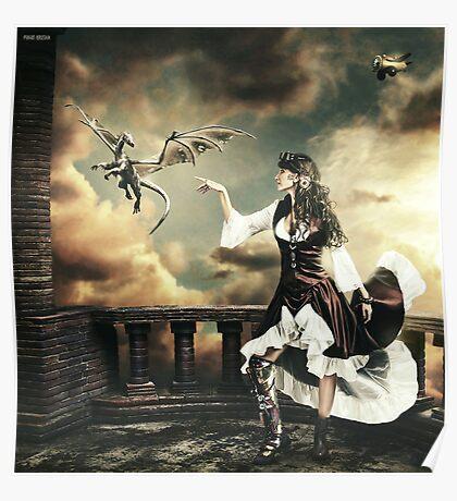 Steampunk Warrior and Little Miska Poster