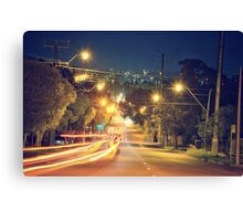 Light Trails Down A Hill Canvas Print