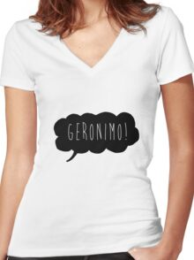 Geronimo! (Black) Women's Fitted V-Neck T-Shirt