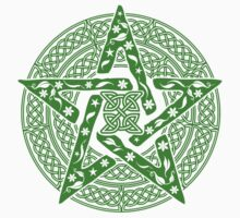 Wiccan Floral Pentagram Stickers by TropicalToad