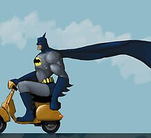 Batman on a Scooter on the Open Road by astralsid