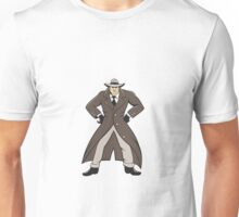 Detective Trenchcoat Hands Akimbo Cartoon Unisex T-Shirt