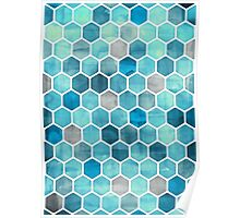 Blue Ink - Watercolor hexagon pattern Poster