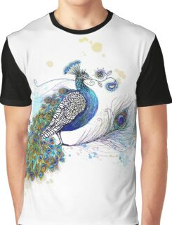 Blue Paisley Peacock Graphic T-Shirt