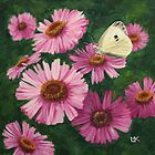 'Michaelmas Daisies & Cabbage White Butterfly'  by Lynne  Kirby