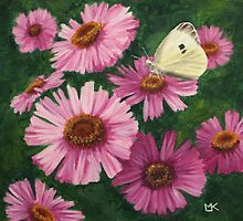 'Michaelmas Daisies & Cabbage White Butterfly'  by Lynne  M Kirby BA(Hons)