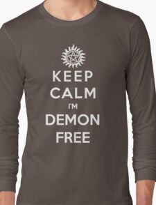 Keep Calm Im Demon Free(white) Long Sleeve T-Shirt