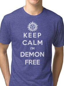 Keep Calm Im Demon Free(white) Tri-blend T-Shirt
