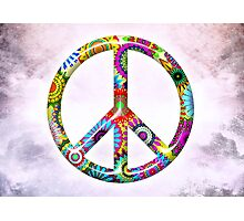 Cool Retro Flowers Peace Sign - T-Shirt and Stickers Photographic Print