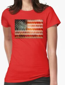 American Flag Abstract Womens Fitted T-Shirt