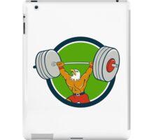Bald Eagle Weightlifter Lifting Barbell Circle Cartoon iPad Case/Skin