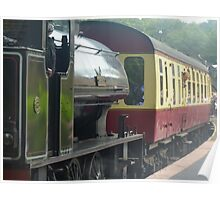 Steam train coming into station Poster