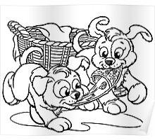 Puppies At Play Poster