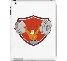 Bald Eagle Weightlifter Lifting Barbell Crest Cartoon iPad Case/Skin