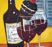 Cupcake wine and a Cupcake by Loretta Barra