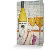 Layer cake wine and cake Greeting Card