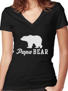 Papa Bear Women's Fitted V-Neck T-Shirt