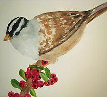Bird on Holly Berries by Loretta Barra