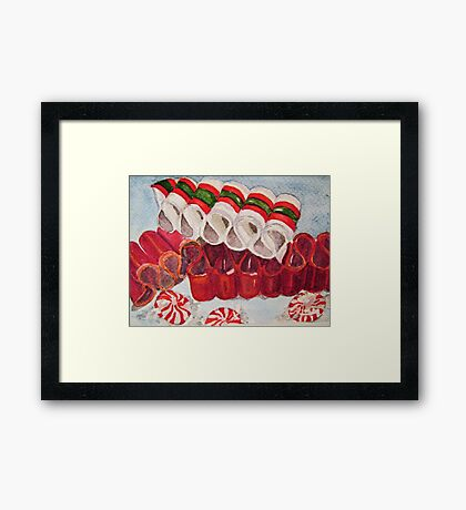 Ribbon Candy Red Framed Print