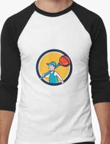 Plumber Carrying Plunger Walking Circle Cartoon Men's Baseball ¾ T-Shirt