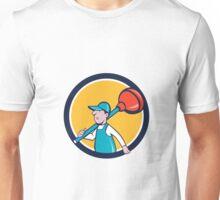 Plumber Carrying Plunger Walking Circle Cartoon Unisex T-Shirt