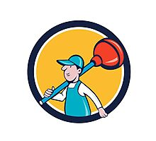 Plumber Carrying Plunger Walking Circle Cartoon Photographic Print