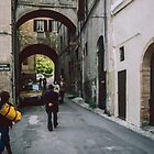 Narrow arched street Spoleto 198404090055  by Fred Mitchell