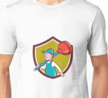 Plumber Carrying Plunger Walking Shield Cartoon Unisex T-Shirt