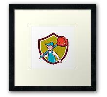 Plumber Carrying Plunger Walking Shield Cartoon Framed Print