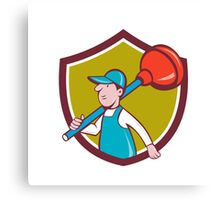 Plumber Carrying Plunger Walking Shield Cartoon Canvas Print