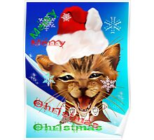 Christmas Ginger Kitty Poster