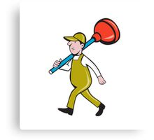 Plumber Carrying Plunger Walking Isolated Cartoon Canvas Print