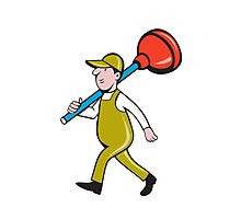 Plumber Carrying Plunger Walking Isolated Cartoon Photographic Print
