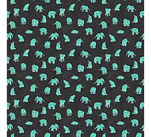 Indian Baby Elephants Black/Mint Photographic Print