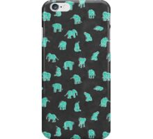 Indian Baby Elephants Black/Mint iPhone Case/Skin