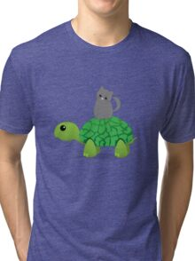 Kitty Riding a Turtle Tri-blend T-Shirt