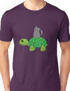 Kitty Riding a Turtle Unisex T-Shirt