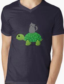 Kitty Riding a Turtle Mens V-Neck T-Shirt