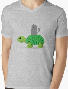 Kitty Riding a Turtle Mens V-Neck T-Shirt