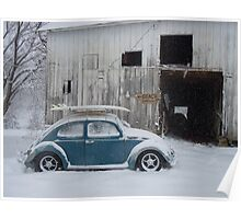 VW in snow by barn Poster