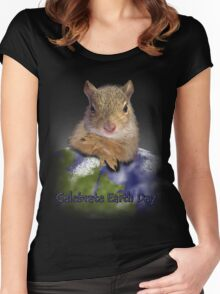Celebrate Earth Day Squirrel Women's Fitted Scoop T-Shirt
