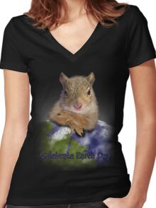 Celebrate Earth Day Squirrel Women's Fitted V-Neck T-Shirt