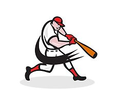 Baseball Player Batting Isolated Cartoon by patrimonio