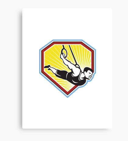 Crossfit Athlete Muscle-Up Gymnastics Ring Retro Canvas Print
