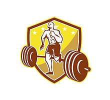 Crossfit Athlete Runner Barbell Shield Retro by patrimonio
